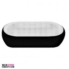 Canapé avec bouton - Fibre de Verre/Polyuréthane - DESIGN - 2 Places-Noir/Blanc