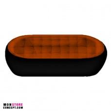 Canapé avec bouton - Fibre de Verre/Polyuréthane - DESIGN - 2 Places-Noir/Marron
