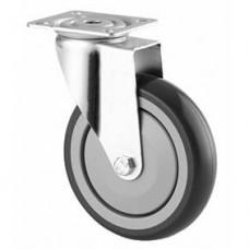 Roulette collectivité sur platine, bandage caoutchouc, roue pivotante