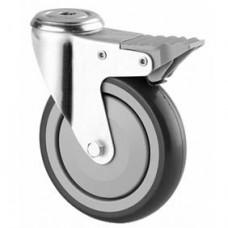 Roulette collectivité, fixation à oeil, bandage caoutchouc, roue pivotante avec blocage