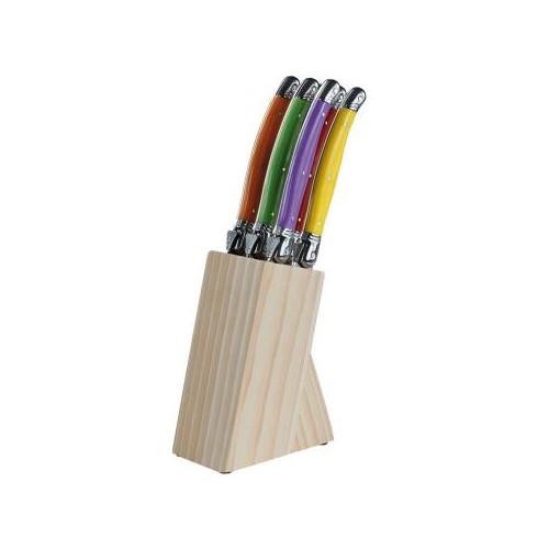Bloc support bois et set 6 couteaux Laguiole inox