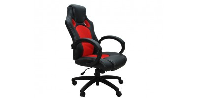 Siège baquet fauteuil de bureau rouge et noir tissu et cuir