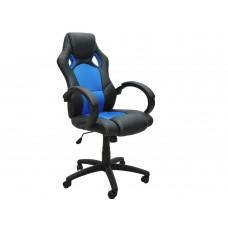 Siège baquet fauteuil de bureau bleu et noir, tissu et cuir
