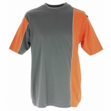 Tee-shirts coton bi-color manches courtes Mach 2 - Gris / orange - Taille L