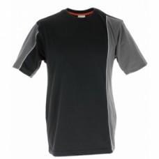 Tee-shirts coton bi-color manches courtes Mach 2 - Noir / gris - Taille L