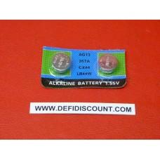 Piles x2 LR44 AG13 alcaline 1,5v