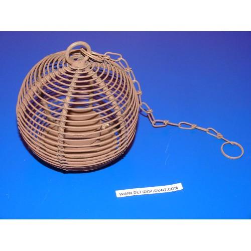 Bougeoir métal L 12cm x H 13cm déco marron avec chaîne