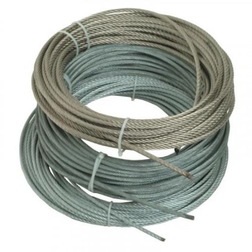 Câble âme métallique gainé PVC, 7 torons de 7 fils - Inox / PVC blanc