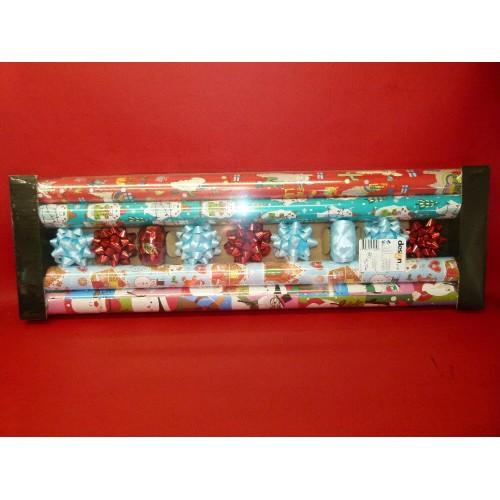 x1 set de papier cadeau bolduc étoiles décorative