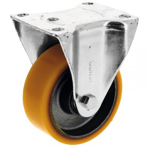 Roulette fixe sur platine roue althane pour charges moyennes - Fortainer