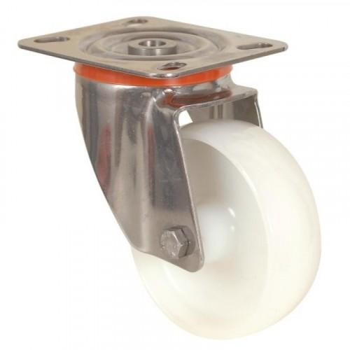 Roulette pivotante sur platine inoxydable bandage polyamide pour charges moyennes - Mécaninox / GUITEL HERVIEU