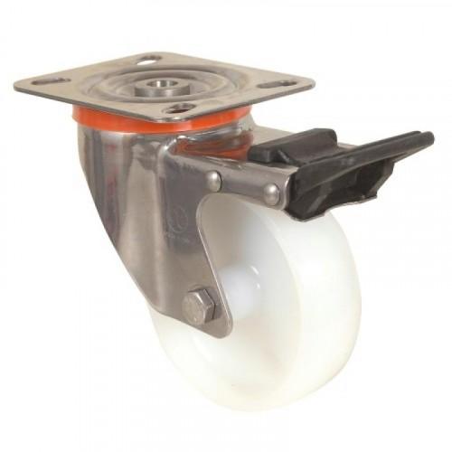 Roulette pivotante à blocage sur platine inoxydables bandage polyamide pour charges moyennes - Mécaninox / GUITEL HERVIEU
