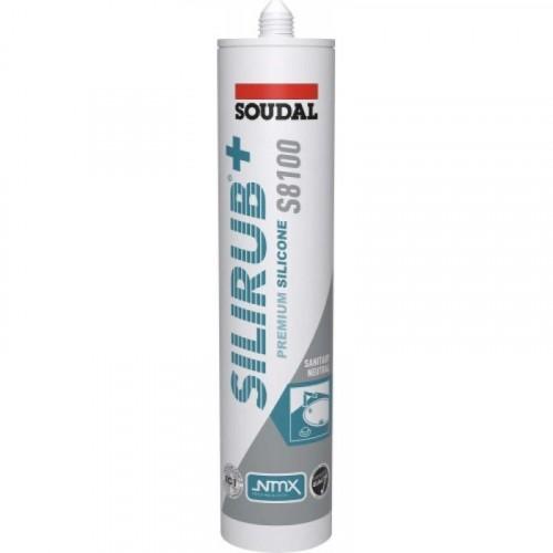 Mastic sanitaire silicone neutre Silirub+ S8100 cartouche 310 ml - SOUDAL