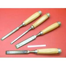 x4 Ciseaux à bois 8, 12, 16,20mm manche bois