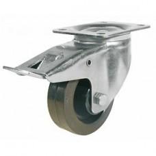 Roulette pivotante à blocage sur platine roue Résilex pour charges moyennes - Résitainer