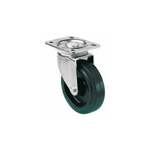 Roulette pivotante sur platine roue Résilex pour charges moyennes - Résitainer