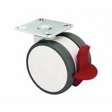 Roulette collectivité, bande polyamide, sur platine, roue pivotante et blocage