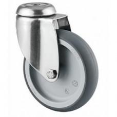 Roulette de lit en acier inox, fixation à œil, roue pivotante