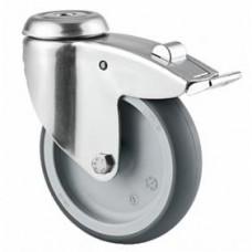 Roulette de lit en acier inox, fixation à œil, roue pivotante avec blocage