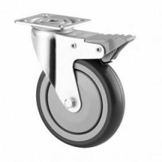 Roulette collectivité sur platine, bandage caoutchouc, roue pivotante avec blocage