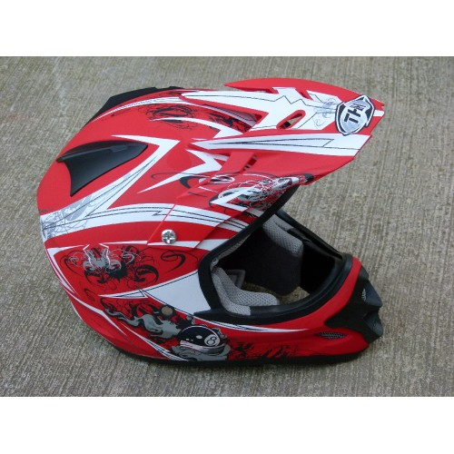 Casque Cross billard THH MX rouge